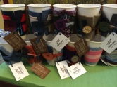 Plaidypus up cycled coffee cup cozies made from felted sweaters in Wadoo Furniture and Gifts