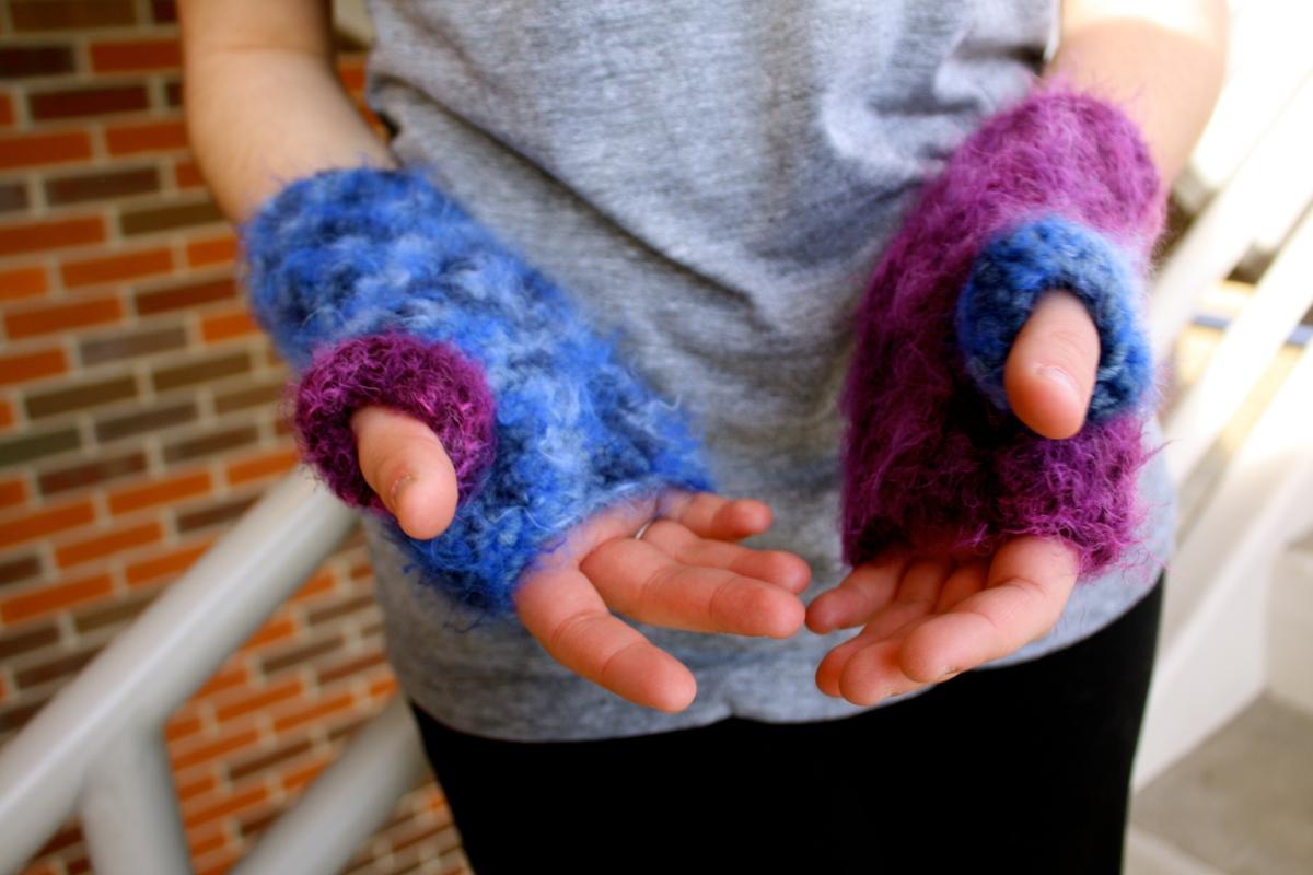Dark blue and dark purple crochet handwarmers/fuzzy fingerless mittens