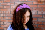 Plaidypus upcycled t-shirt headband - Purple with black and purple buttons