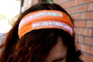 Plaidypus upcycled t-shirt headband - Orange with rainbow lace