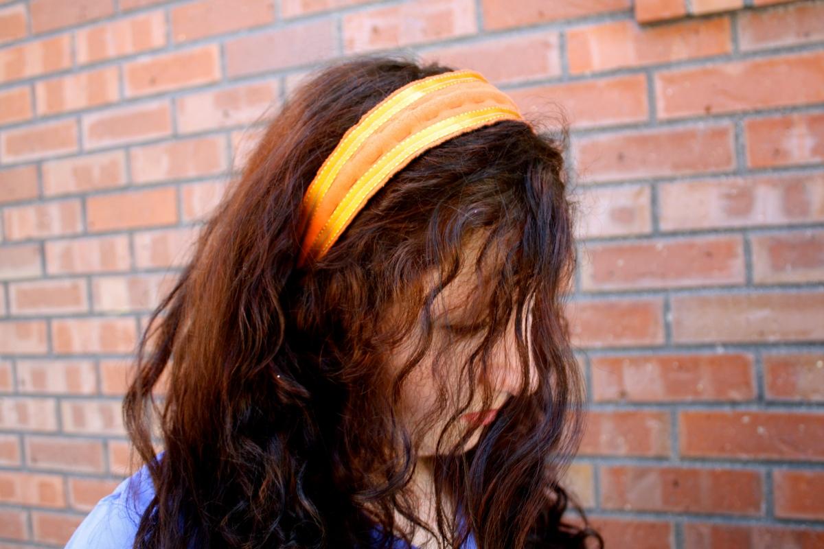 Plaidypus upcycled t-shirt headband - Orange with gold ribbon