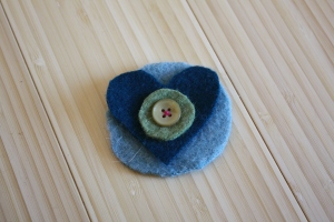 Felted Wool Sweater Blue Heart Hair Clip/Pin