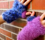Plaidypus handwarmers fuzzy fingerless gloves mittens crocheted