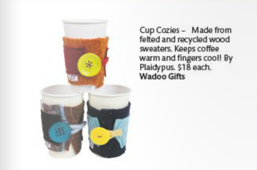 Plaidypus felted wool coffee cup cozies featured in coloradoan gift guide