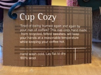 Felted Wool Coffee Cup Cozy product description by plaidypus