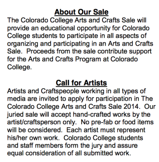 Colorado College arts and craft fair 2014 plaidypus call to artists and about sale