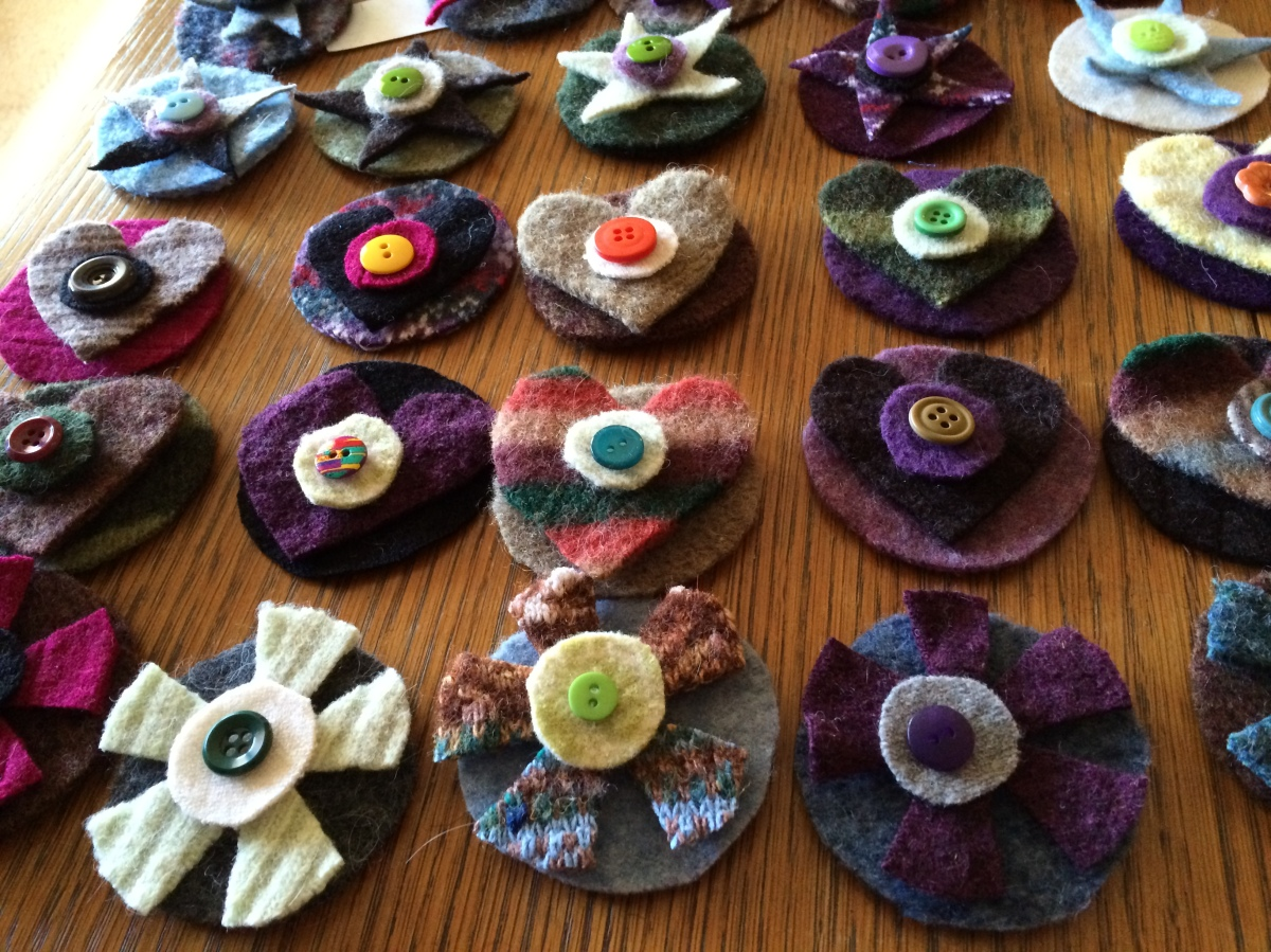 Plaidypus hair clips pins upcycled recycled wool felted sweaters