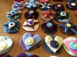 Plaidypus upcycled recycled felted wool sweater hair clips pins